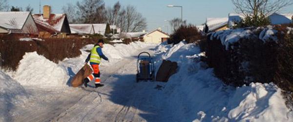 Affaldsindsamlingen indstilles foreløbigt pga. store mængder sne