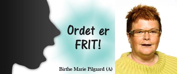 Ordet er frit af Birthe Marie Pilgaard –  Byrådsmedlem S
