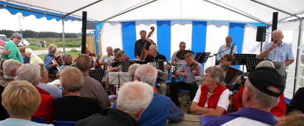 Harmonikamusik på havnen i sommer