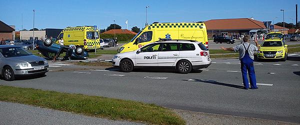 Færdselsuheld ved City Vest i Sæby