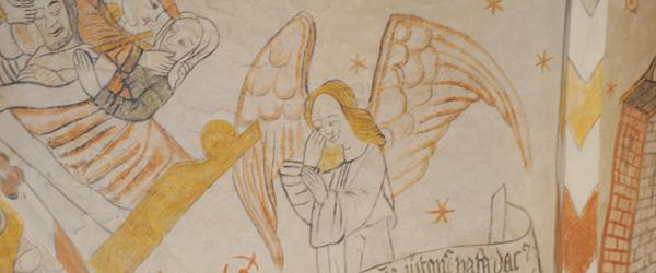 Kalkmaleri med inspiration fra Sæby Kirke i praktikforløb
