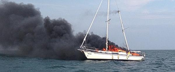 Sæby Redningsstation til bådbrand ved Læsø