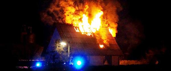 Første sal udbrændte ved villabrand i Flauenskjold